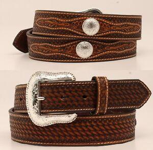 check-out db5fc 31203 Dettagli su Fibbia D'Argento ~ Basket Tooled pelle W/Conchos ~ Western  Cintura Cowboy N24116
