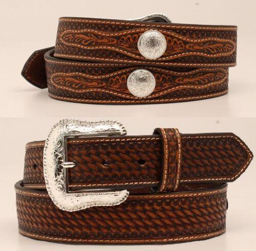 Silver Buckle ~Basket TOOLED Leather w// Conchos~ Western Belt Cowboy N24116 16