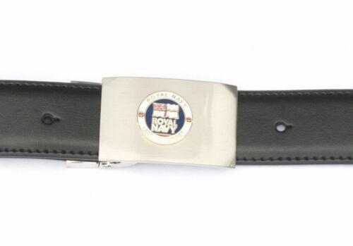 Royal Navy  Lest we Forget Buckle and Belt Set Black Leather Gift BKG60