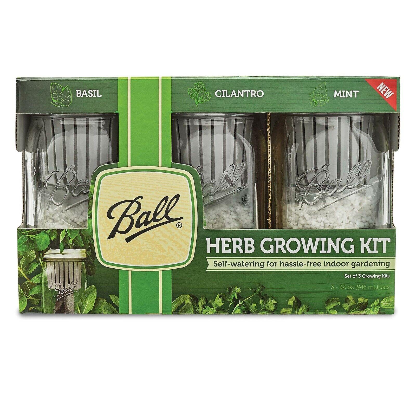 Ball Herb Growing Kit 3 Jars Basil Cilantro Mint Self-Watering Indoor Gardening 1