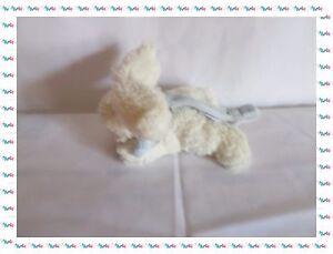 A - Doudou Peluche Mini Lapin  Blanc Bleu Coucou Doudou Doudou et Compagnie