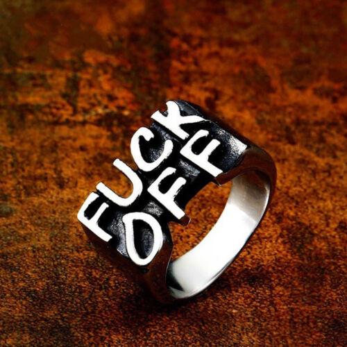 1PC Unisex Women Men Stainless Steel FUCK-OFF Gothic Punk Biker Rings Jewelry