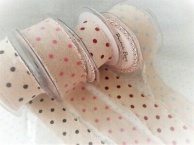 Light Pink Cut Lengths Edge 38mm Linen Style Polka Dot Woven Ribbon