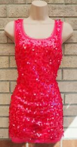 NEW-LOOK-PINK-FUCHSIA-MESH-SEQUIN-BEADED-PARTY-SLEEVELESS-BLOUSE-TOP-VEST-12-M