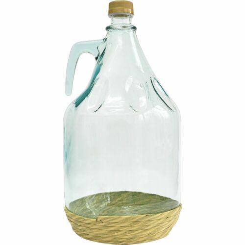 5L Gärballon mit Schraubverschluss Flechte  Flasche Glasballon Weinballon BRO