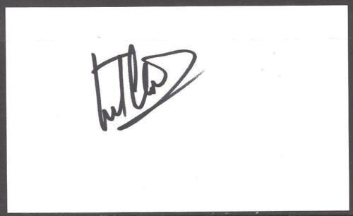 A 13cm x 7.5cm Plain White Card Signed by Frank Clark. Newcastle United, Notts F