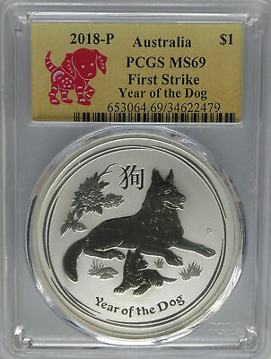 Flag Label 2018 Australia 1oz Silver Lunar Dog PCGS MS70 First Strike
