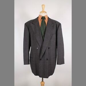 Giorgio Armani 44R Brown Check Wool Blend Double Breasted Sport Coat