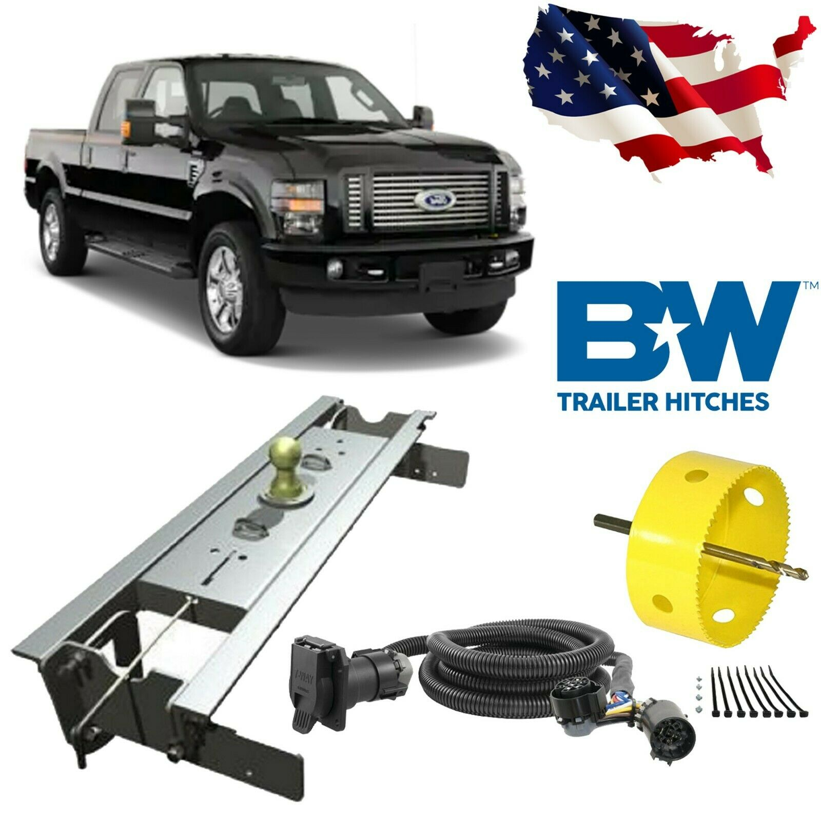 b&w gooseneck hitch w/hole saw & wiring harness for 1999-2010 ford  f-250/f-350   ebay  ebay