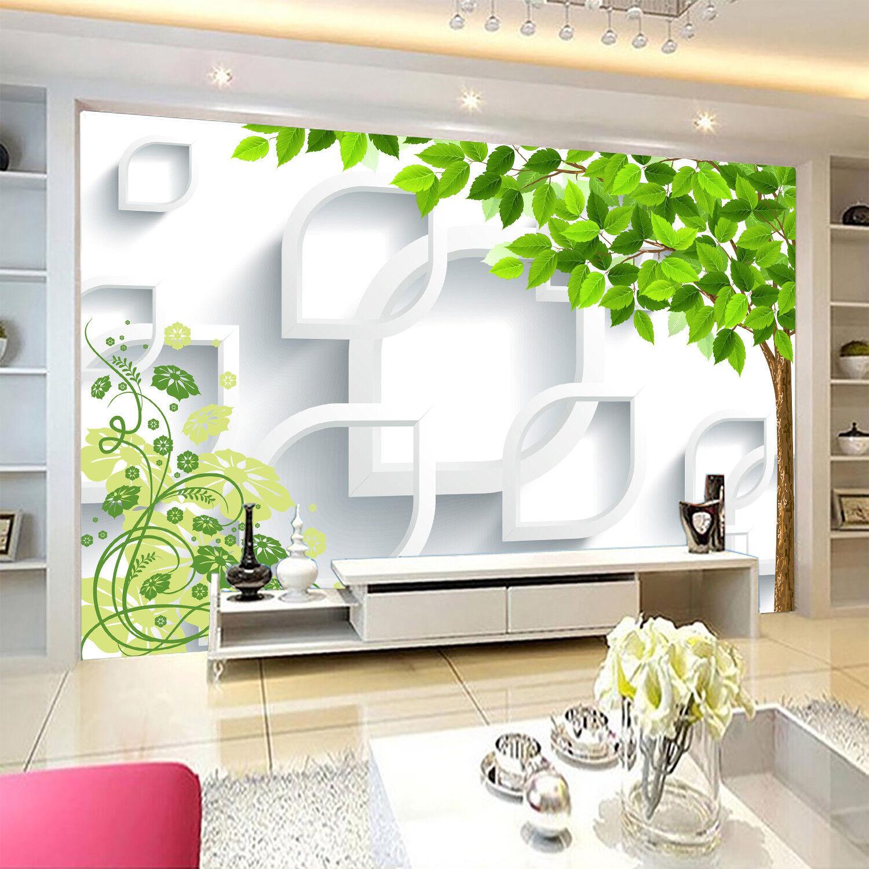 3D Grüne Blätter Einfach 9683 Tapete Wandgemälde Tapeten Bild Familie DE Jenny