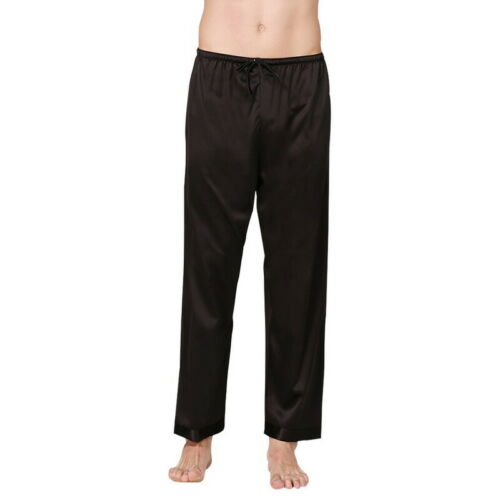 Men Silk Satin Pajamas Pyjamas Lounge Pants Trousers Bottoms Cozy Sleepwear UK