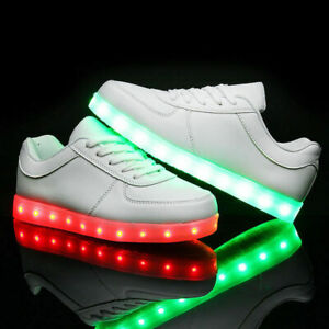 USB Charging Sneakers Sportswear Shoes LED Lace up Shoes Unisex US Size 5.5-12