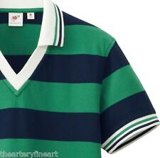 MICHAEL BASTIAN x UNIQLO Rugby Stripe V-Neck Polo Shirt Men's S Green / Navy NEW