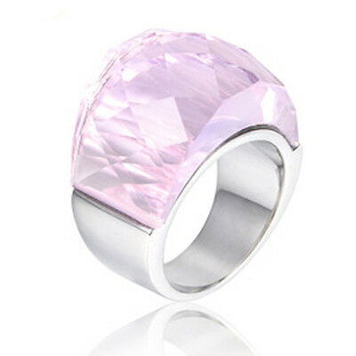 Popular Jewelry Large glass stone stainless steel Silver/Gold Ring US SIZE 6-9