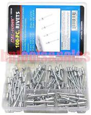 100pc Pop Rivet Assorted Set 332 18 532 316 Aluminum Heads Steel Shanks