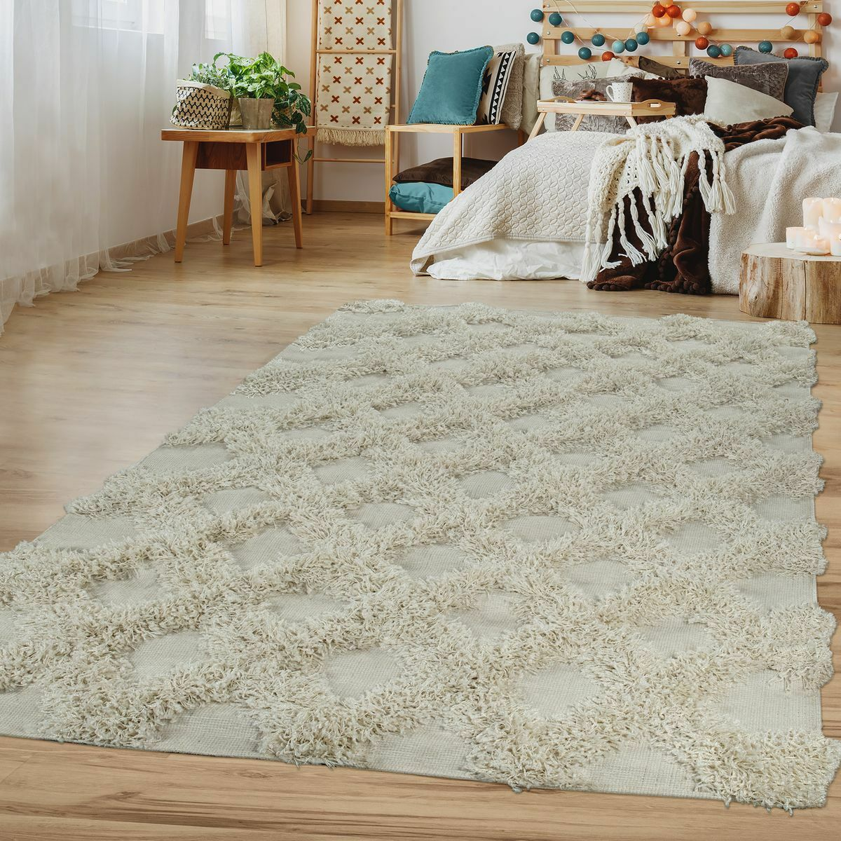 Hochflor Wohnzimmer Teppich Karo Muster Einfarbig Geometrisches Geometrisches Geometrisches Design Creme 41109d