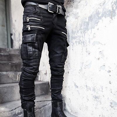 BytheR Men's Korean Fashion Casual Modern Wax Coated Cargo Biker Pants P000BGET