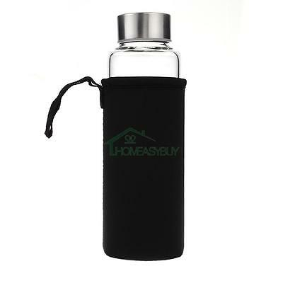 Black High Temperature Resistant Glass Outdoor Portable Water Bottle Cup 360ML
