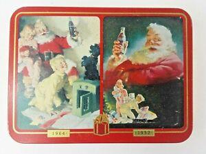 Vintage Collectible Coca Cola 1996 Set of 2 Decks Playing Cards and Metal Storage Tin Coca Cola 1952 Santa and 1964 Christmas Morning
