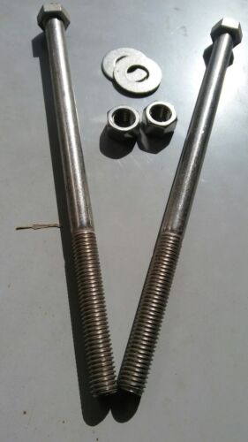 """With Nuts And Washers 2pcs 1//2-13 X 9/"""" Hex Bolts Stainless"""
