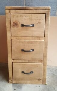 Image Is Loading Rustic Solid Wood 3 Drawer Unit Wooden