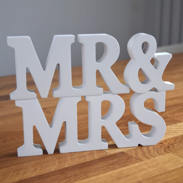 wedding white letters wooden mr and mrs letters mr mrs sign