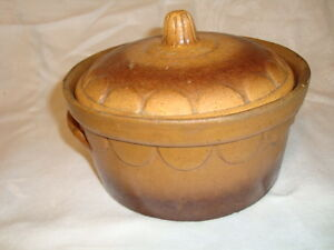 "H-5.5"" Decorative Arts Beautiful Authentic French Brown Clay Alsatian Tureen With Lid Circa 1900 Other Antique Decorative Arts"