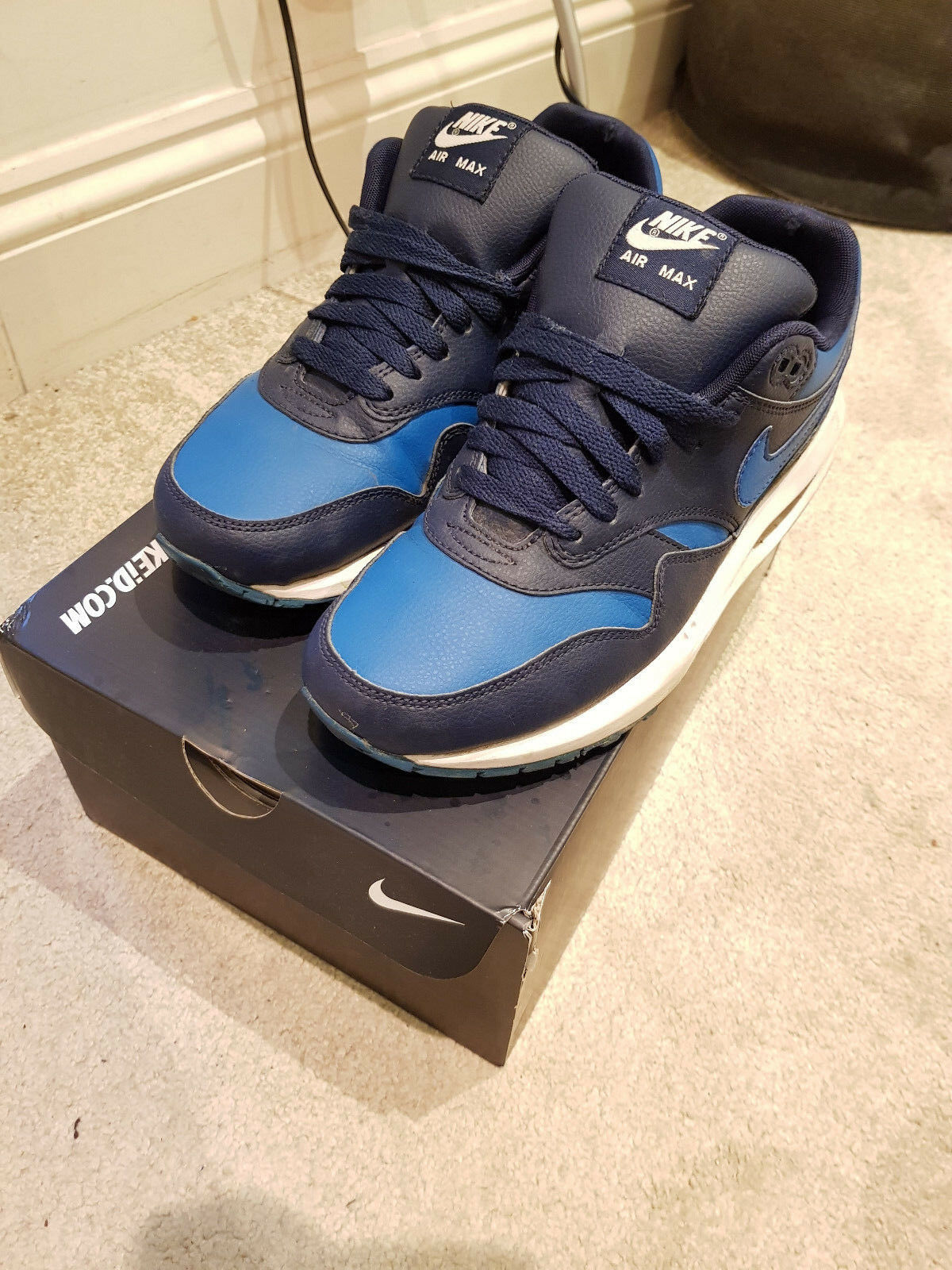 Hommes Nike Air Max 1 RARE Bleu blanc Nike ID RARE 1 Custom One Off Trainer Chaussures UK7 b70d04
