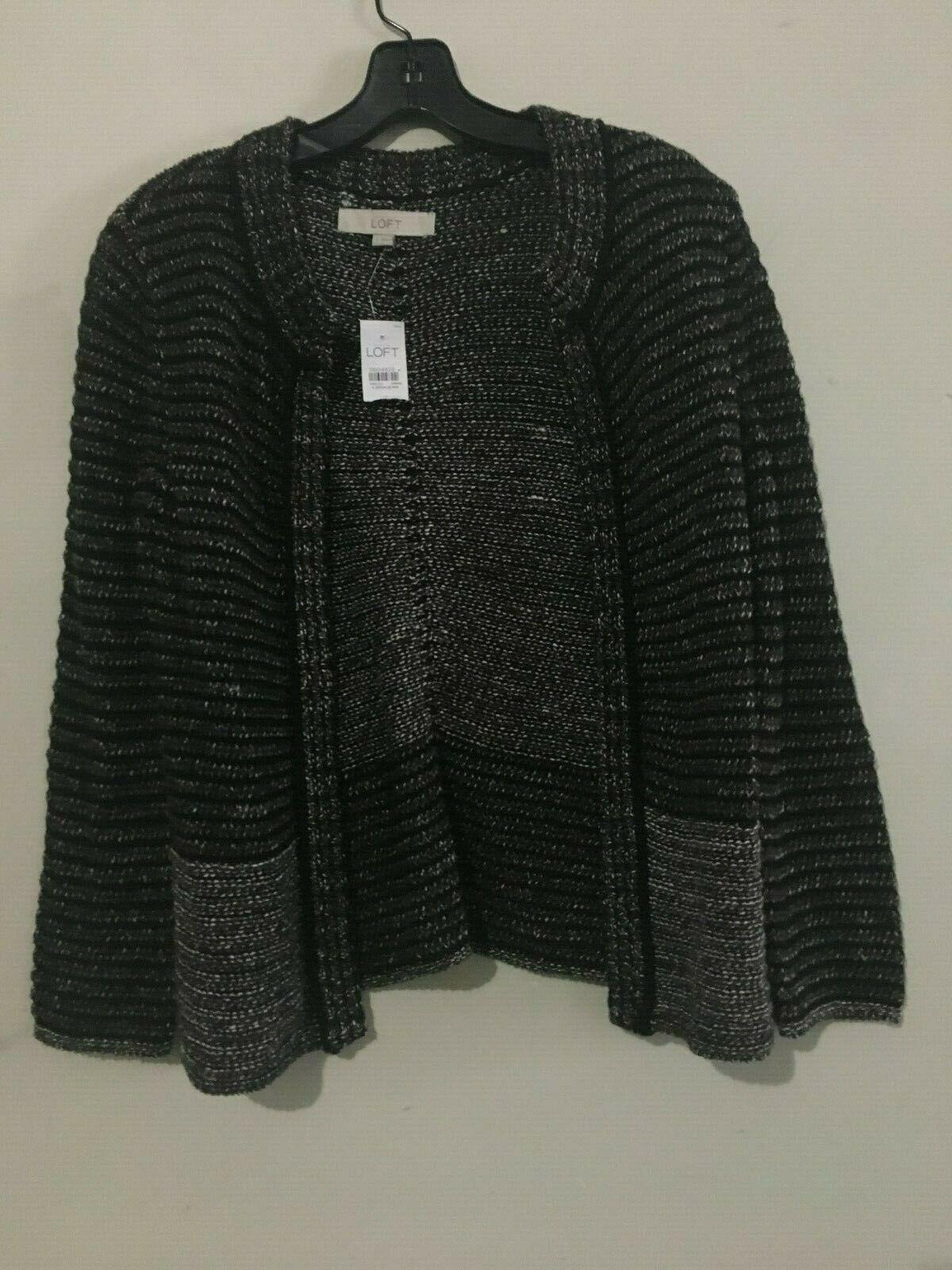 NWT Ann Taylor Loft Tweed Brown Cardigan Size S Sweater Top Women 100% Cotton
