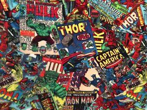 Details about Hulk, Spiderman, Iron Man, FLEECE FABRIC COMIC FURY COVER  ART, 60
