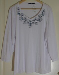 Bonmarche-Casual-White-with-Blue-Floral-Design-Size-UK-XL