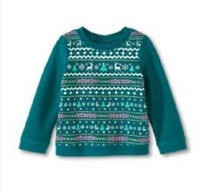 Circo-Christmas-Crew-Neck-Sweatshirt-Girl-039-s-Size-12-months-Green-Holiday-NEW