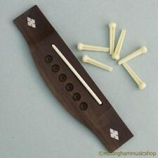Rosewood acoustic guitar bridge diamond pearl inlaid with saddle + string pins