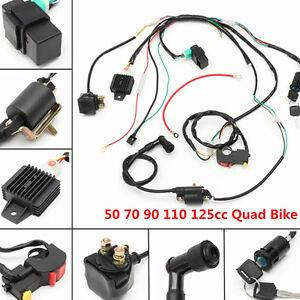 034-Wiring-Harness-Solenoid-Coil-Rectifier-CDI-Switch-50-70-90-110-125cc-Quad-Bike