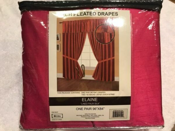 48 by 84-Inch Black Editex Home Textiles Elaine Lined Pinch Pleated Window Curtain