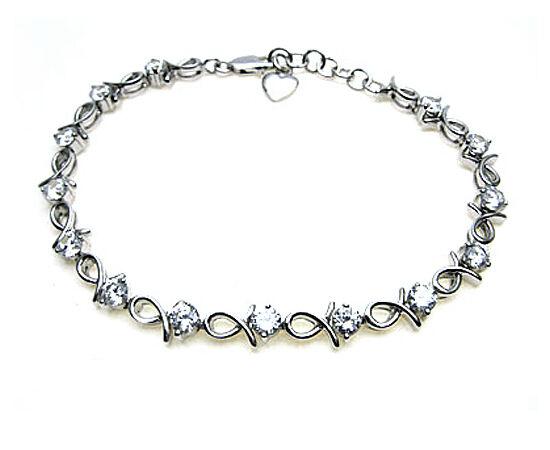Bracciale in argentoo argentoo argentoo Sterling Set Con Bianco Frizzante Pietre CZ-lunghezza 7.25  a 8  cf1355