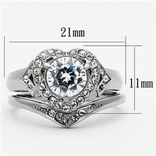 Valentine/'s 8 mm Wedding Set 316 Stainless Steel Lady Clear CZ Ring Size 5-11