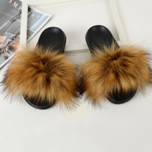 Womens Faux Fox Fur Slippers Fluffy Slippers Slip on Sliders Flat Casual Shoes