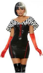 Cruella-de-Vil-Costume-Dress-Faux-Fur-Dalmatian-Spotted-Long-Red-Gloves-558769