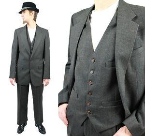 e24ce42b1ee21c Vintage 3 Three Piece Suit 38L 33x32 Pinstripe Blazer Vest Pants ...