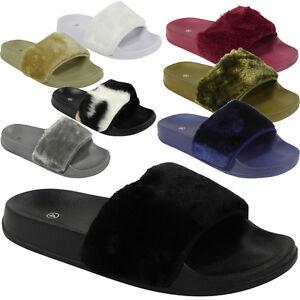 womens ladies comfy faux fur trim rubber slider flats shoes slides