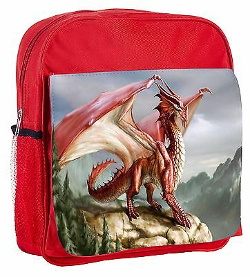 Red Dragon On A Cliff Kids Adjustable Strap Backpack