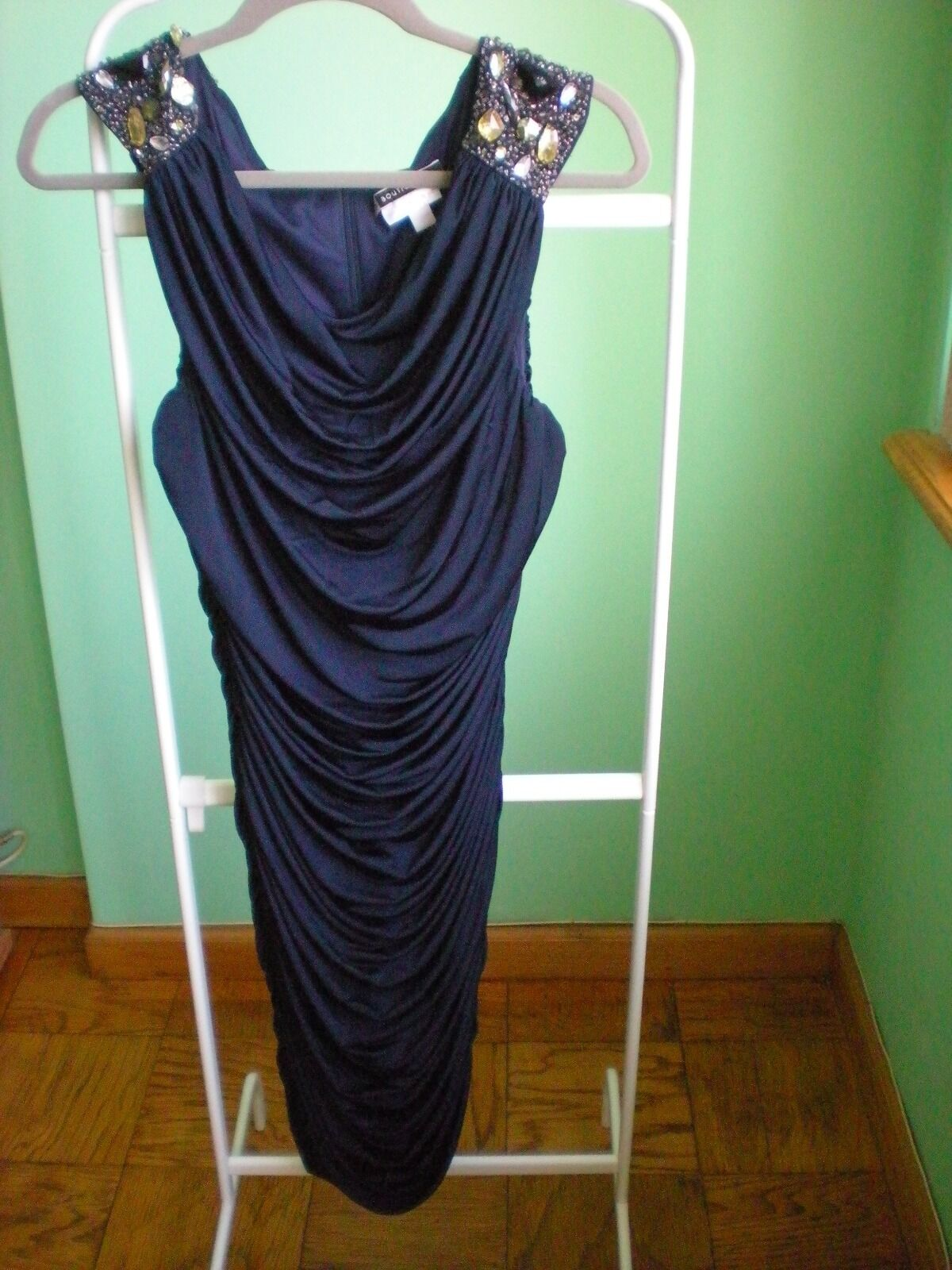 Gorgeous JS BOUTIQUE for A Pea In The Pod Dark bluee Sequin Dress SZ L