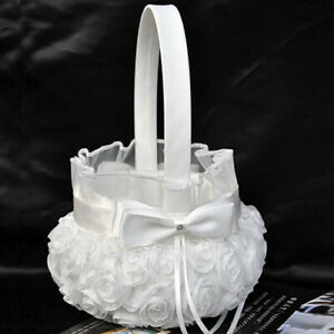 White-Romantic-Rose-Bowknot-Wedding-Ceremony-Flower-Girl-Basket-Accessory-Fashi