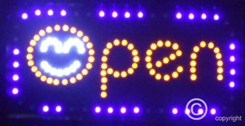 Flashing open with smiling face led new window sign