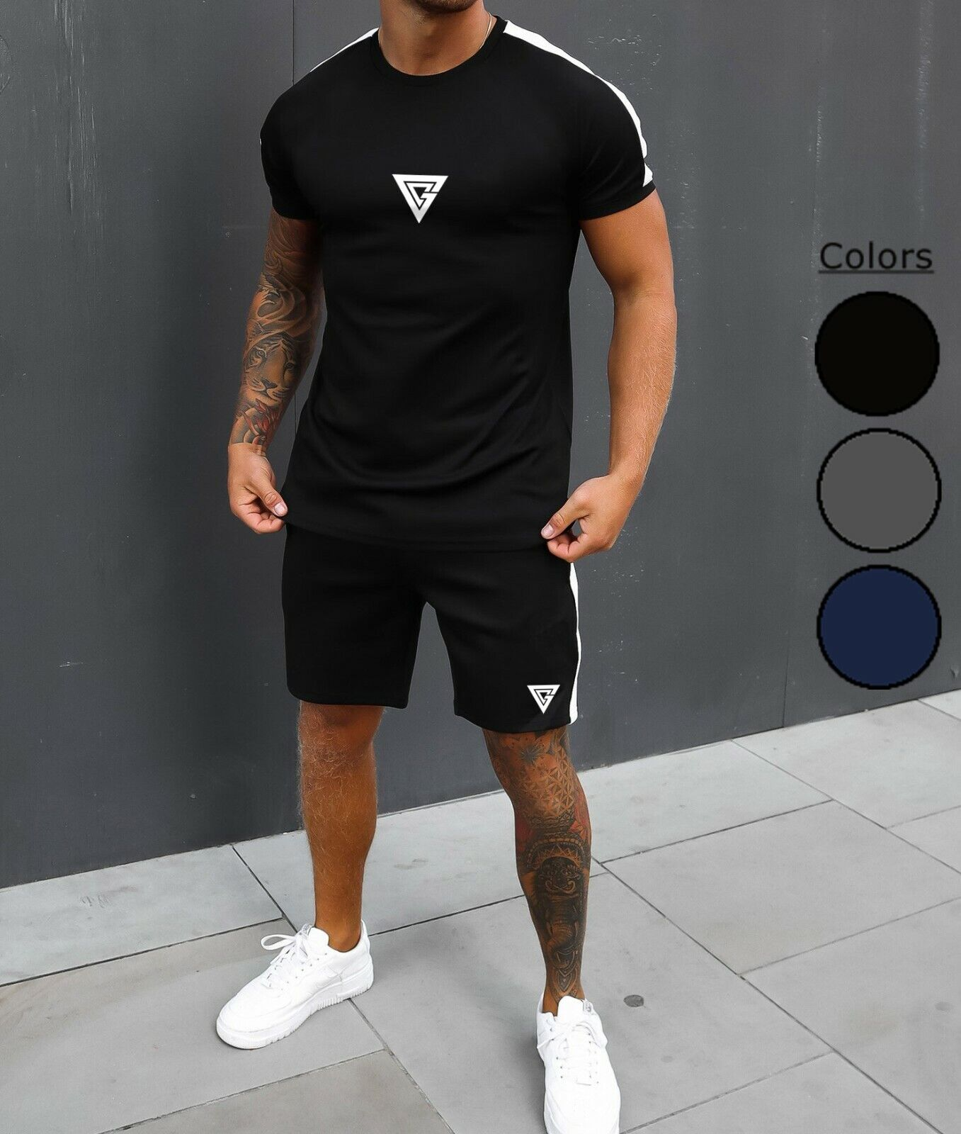 Mens Summer Short Sleeve T-Shirt & Shorts Twin Suit Sports Tracksuit 2pc Running