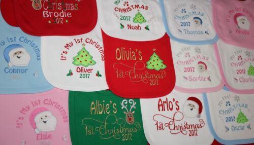 Personalised 1st First Christmas Xmas Baby Bib Script font choose design 2019