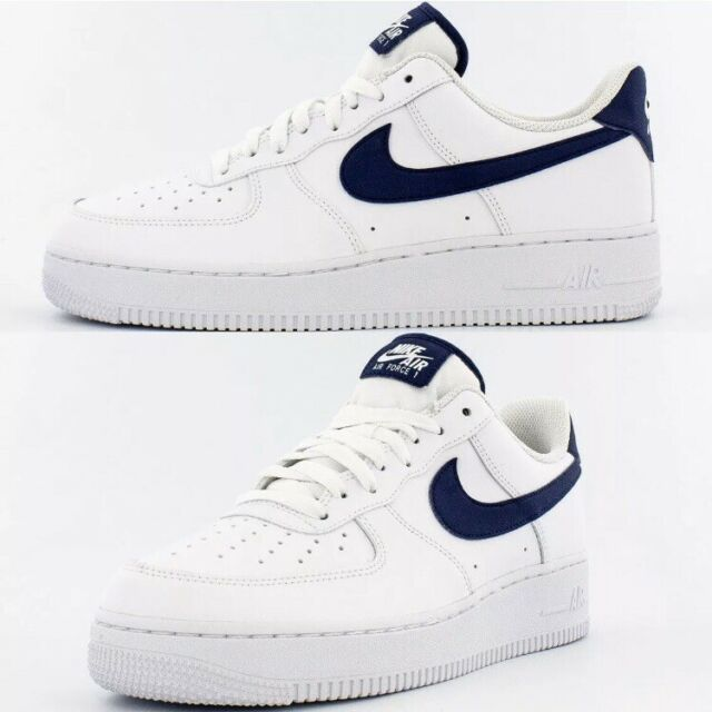 Nike Air Force 1 Low Sneakers Men's Lifestyle Comfy Shoes White Midnight  Navy