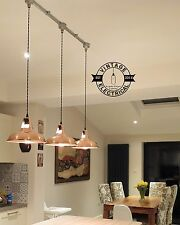 3 x RAME industriale vintage Appeso Soffitto Luce Tavola Lampade VINTAGE RACCORDO