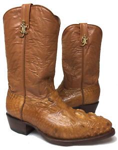 Kids-Youth-Boys-Cognac-Brown-Alligator-Skin-Western-Leather-Cowboy-Boots-Size-2